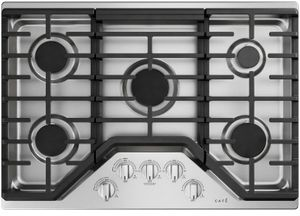 """CGP70302NS1 Cafe 30"""" Built-In Gas Cooktop with 5 Sealed Burners and Heavy Duty Knobs - Stainless Steel with Brushed Stainless Steel Knobs"""