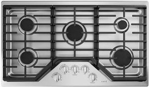 """CGP70362NS1 Cafe 36"""" Built-In Gas Cooktop with 5 Sealed Burners and Heavy Duty Knobs - Stainless Steel with Brushed Stainless Steel Knobs"""