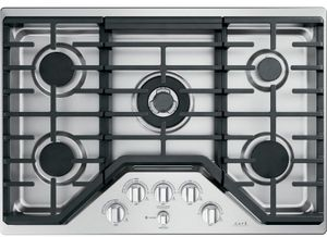 """CGP95302MS1 Cafe 30"""" Built-In Gas Cooktop with 5 Sealed Burners and Dishwasher Safe Grates - Stainless Steel with Brushed Stainless Knobs"""