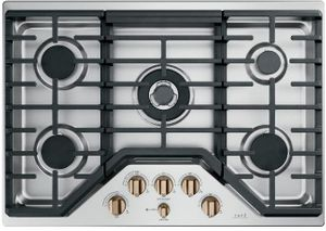 """CGP95303MS2 Cafe 30"""" Built-In Gas Cooktop with 5 Sealed Burners and Dishwasher Safe Grates - Stainless Steel with Brushed Bronze Steel Knobs"""