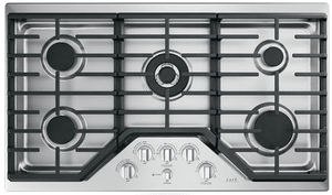"""CGP95362MS1 Cafe 36"""" Gas Cooktop with LED Backlit Heavy-Duty Knobs and Extra-Large Integrated Cooktop Griddle - Stainless Steel with Brushed Stainless Knobs"""
