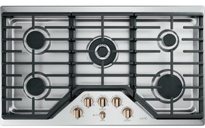 "CGP95363MS2 Cafe 36"" Gas Cooktop with LED Backlit Heavy-Duty Knobs and Extra-Large Integrated Cooktop Griddle - Stainless Steel with Brushed Bronze Knobs"