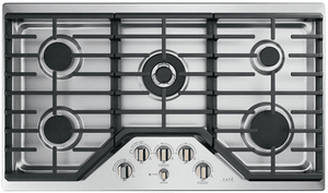 """CGP95363MS2 Cafe 36"""" Gas Cooktop with LED Backlit Heavy-Duty Knobs and Extra-Large Integrated Cooktop Griddle - Stainless Steel with Brushed Bronze Knobs"""