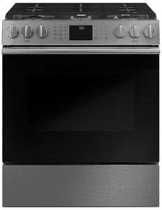 "CGS700M2NS5 Cafe 30"" Slide-In Front Control Convection Gas Range with WiFi Connect and Precise Controls - Platinum with Brushed Stainless Steel Handles and Knobs"