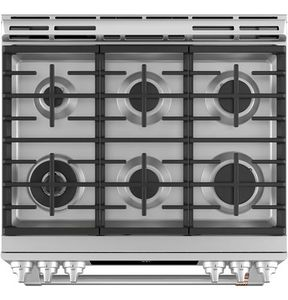 "CGS700P2MS1 Cafe 30"" Slide-In Front Control Convection Gas Range with Warming Drawer and 6 Sealed Burners - Stainless Steel with Brushed Stainless Steel Handles and Knobs"