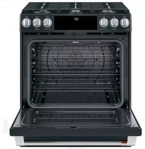 """CGS700P3MD1 Cafe 30"""" Slide-In Front Control Convection Gas Range with Warming Drawer and 6 Sealed Burners - Matte Black with Brushed Stainless Handles and Knobs"""
