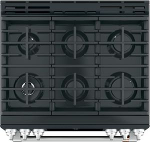 "CGS700P3MD1 Cafe 30"" Slide-In Front Control Convection Gas Range with Warming Drawer and 6 Sealed Burners - Matte Black with Brushed Stainless Handles and Knobs"