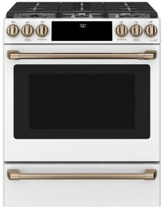 "CGS700P4MW2 Cafe 30"" Slide-In Front Control Convection Gas Range with Warming Drawer and 6 Sealed Burners - Matte White with Brushed Bronze Handles and Knobs"