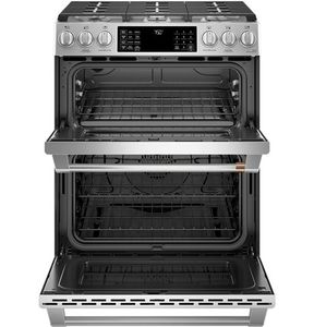 """CGS750P2MS1 GE 30"""" Cafe Series Slide-In Front Control Convection Double Oven Gas Range with Wifi Connect and 6 Sealed Burners - Stainless Steel with Brushed Stainless Steel Handles and Knobs"""
