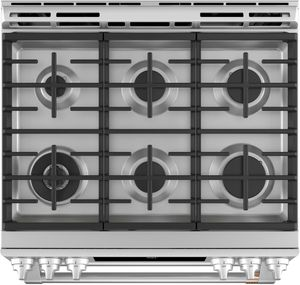 "CGS750P2MS1 Cafe 30"" Slide-In Front Control Convection Double Oven Gas Range with Wifi Connect and 6 Sealed Burners - Stainless Steel with Brushed Stainless Steel Handles and Knobs"