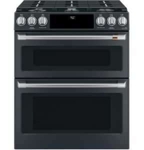 "CGS750P3MD1 Cafe 30"" Slide-In Front Control Convection Double Oven Convection Gas Range with Wifi Connect and 6 Sealed Burners - Matte Black with Brushed Stainless Handles and Knobs"