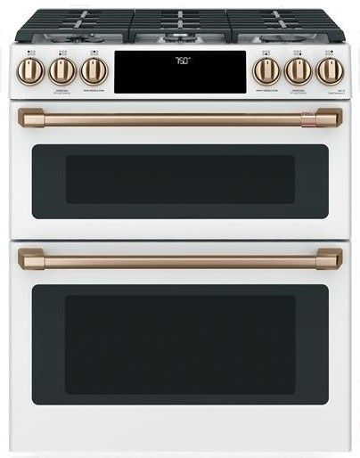 "CGS750P4MW2 Cafe 30"" Slide-In Front Control Convection Double Oven Gas Range with Wifi Connect and 6 Sealed Burners - Matte White with Brushed Bronze Handles and Knobs"