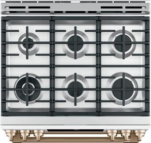 """CGS750P4MW2 Cafe 30"""" Slide-In Front Control Convection Double Oven Gas Range with Wifi Connect and 6 Sealed Burners - Matte White with Brushed Bronze Handles and Knobs"""