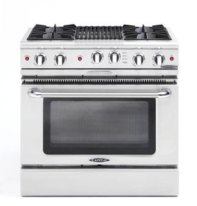 "CGSR362B2N Capital Culinarian Series 36"" Self-Clean Gas Range with 4 Open Burners and 12"" Grill - Natural Gas - Stainless Steel"