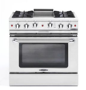 """CGSR362G2N Capital Culinarian Series 36"""" Self-Clean Gas Range with 4 Open Burners and 12"""" Griddle - Natural Gas - Stainless Steel"""