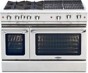 """CGSR484BBN Capital Culinarian Series 48"""" Self-Clean Gas Range with 4 Open Burners and 24"""" Grill - Natural Gas - Stainless Steel"""