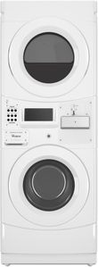 """CGT9100GQ Whirlpool 27"""" Card Ready Gas Commercial Combination Stacked Washer and Dryer with Powerful Drive System and Automatic Load Balancing - White"""