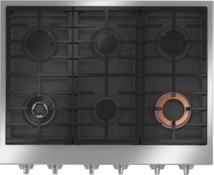 """CGU366P2TS1 Cafe 36"""" Commercial-Style Gas Rangetop with 6 Burners - Stainless Steel with Brushed Stainless Steel Knobs"""