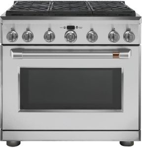 "CGY366P2MS1 Cafe 36"" Freestanding Professional Gas Range with Self-Clean and 6 Sealed 18K BTU Dual Stack Burners - Stainless Steel with Brushed Stainless Handle and Knobs"