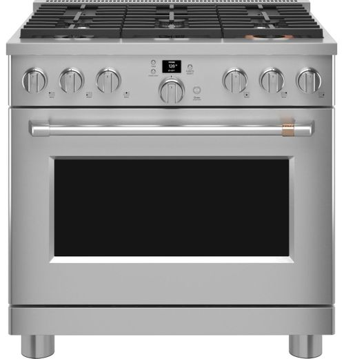 """CGY366P2TS1 Cafe 36"""" Smart All Gas Commercial Style Range with 6 Burners - Stainless Steel with Brushed Stainless Handles and Knobs"""
