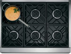 """CGY366P3MD1 Cafe 36"""" Freestanding Professional Gas Range with Self-Clean and 6 Sealed 18K BTU Dual Stack Burners - Matte Black with Brushed Stainless Handle"""