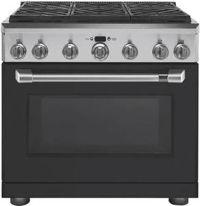 "CGY366P3MD1 Cafe 36"" Freestanding Professional Gas Range with Self-Clean and 6 Sealed 18K BTU Dual Stack Burners - Matte Black with Brushed Stainless Handle"