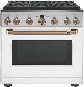 "CGY366P4MW2 Cafe 36"" Freestanding Professional Gas Range with Self-Clean and 6 Sealed 18K BTU Dual Stack Burners - Matte White with Brushed Bronze Handle and Knobs"