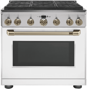 """CGY366P4MW2 Cafe 36"""" Freestanding Professional Gas Range with Self-Clean and 6 Sealed 18K BTU Dual Stack Burners - Matte White with Brushed Bronze Handle and Knobs"""