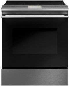 "CHS900M2NS5 Cafe 30"" Slide-In Front Control Induction Range with True European Convection and WiFi Connect - Platinum with Brushed Stainless Steel Handles and Knobs"