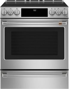 "CHS900P2MS1 Cafe 30"" Slide-In Front Control Induction Range with True European Convection and WiFi Connect - Stainless Steel with Brushed Stainless Steel Handles and Knobs"