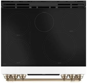 "CHS900P4MW2 Cafe 30"" Slide-In Front Control Induction Range with True European Convection and WiFi Connect - Matte White with Brushed Bronze Handles and Knobs"