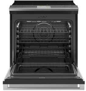 """CHS90XM2NS5 Cafe 30"""" Slide-In Front Control Induction Range with Warming Drawer and WiFi Connect - Platinum with Brushed Stainless Steel Handles and Knobs"""