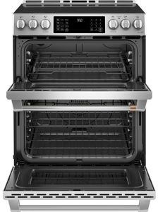 """CHS950P2MS1 Cafe 30"""" Slide-In Front Control Induction Double Oven Range with True European Convection and WiFi Connect - Stainless Steel with Brushed Stainless Steel Handles and Knobs"""