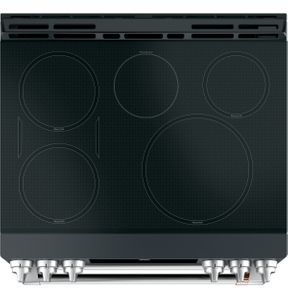 "CHS950P3MD1 Cafe 30"" Slide-In Front Control Convection Double Oven Dual Fuel Range with Wifi Connect and 6 Sealed Burners - Matte Black with Brushed Stainless Handles and Knobs"