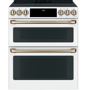 "CHS950P4MW2 Cafe 30"" Slide-In Front Control Convection Double Oven Induction Range with Wifi Connect and 5 Elements - Matte White with Brushed Bronze Handles and Knobs"
