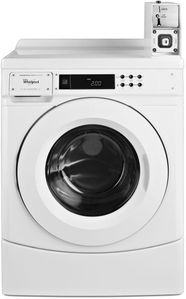 "CHW9150GW Whirlpool 27"" 3.1 cu. ft. Commercial Front Load Washer with Factory Installed Coin Drop and Coin Box - White"