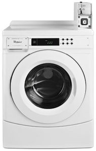 """CHW9150GW Whirlpool 27"""" 3.1 cu. ft. Commercial Front Load Washer with Factory Installed Coin Drop and Coin Box - White"""