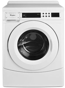 "CHW9160GW Whirlpool 27"" 3.1 cu. ft. Commercial Front Load Washer with Drive System and Automatic Load Balancing - White"