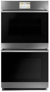 """CKD70DM2NS2 Cafe 27"""" Modern Glass Collection Minimal Series Double Electric Wall Oven with True European Convection and Steam Self-Clean - Platinum Glass with Brushed Stainless Steel Handles"""