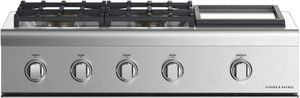 """CPV2364GDLN Fisher & Paykel 36"""" Wide Professional Cooktop with 4 Burners and Griddle - Liquid Propane - Stainless Steel"""