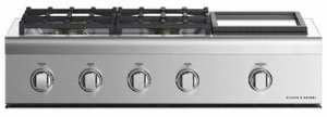 """CPV2364GDNN Fisher & Paykel 36"""" Wide Professional Cooktop with 4 Burners and Griddle- Natural Gas - Stainless Steel"""