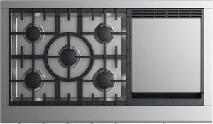 """CPV2485GDLN Fisher & Paykel 48"""" Professional Cooktop with 5 Burners and Griddle - Liquid Propane - Stainless Steel"""