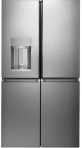 """CQE28DM5NS5 Cafe 36"""" Modern Glass Collection 4 Door French Door Refrigerator with Wifi Connectivity and Humidity Control System Dispenser - Platinum Glass"""
