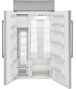 """CSB42WP2NS1 Cafe 42"""" Built In Side by Side Refrigerator with WiFi Connect Technology and Spillproof Glass Shelves - Stainless Steel with Brushed Stainless Steel Handles"""