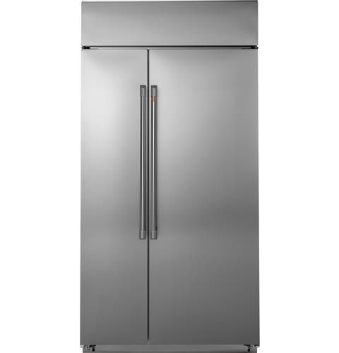 "CSB48WP2NS1 Cafe 48"" Built In Side by Side Refrigerator with WiFi Connect Technology and Spillproof Glass Shelves - Stainless Steel with Brushed Stainless Steel Handles"