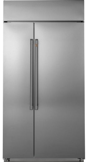 """CSB48WP2NS1 Cafe 48"""" Built In Side by Side Refrigerator with WiFi Connect Technology and Spillproof Glass Shelves - Stainless Steel with Brushed Stainless Steel Handles"""