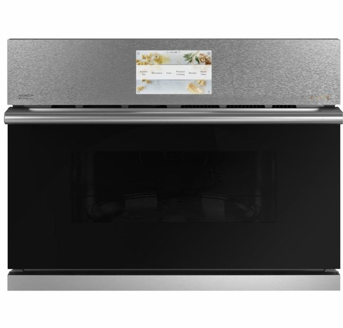 csb912m2ns5 cafe 27 five in one single wall oven microwave combo with 20 reheat programs and advantium technology platinum