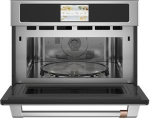 """CSB912P2NS1 Cafe 27"""" Five In One Single Wall Oven Microwave Combo with 20 Reheat Programs and Advantium Technology - Stainless Steel Brushed Stainless Steel Handle"""