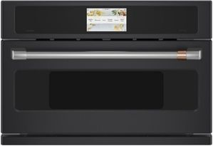 "CSB913P3ND1 Cafe 30"" Five In One Single Wall Oven Microwave Combo with 20 Reheat Programs and Advantium Technology - Matte Black with Brushed Stainless Steel Handle"