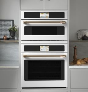 """CSB913P4NW2 Cafe 30"""" Five In One Single Wall Oven Microwave Combo with 20 Reheat Programs and Advantium Technology - Matte White with Brushed Bronze Handle"""